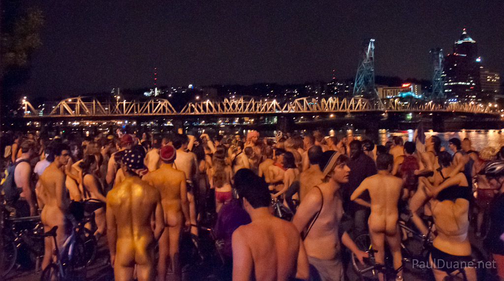 naked dance party after the Portland World Naked Bike Ride 2012