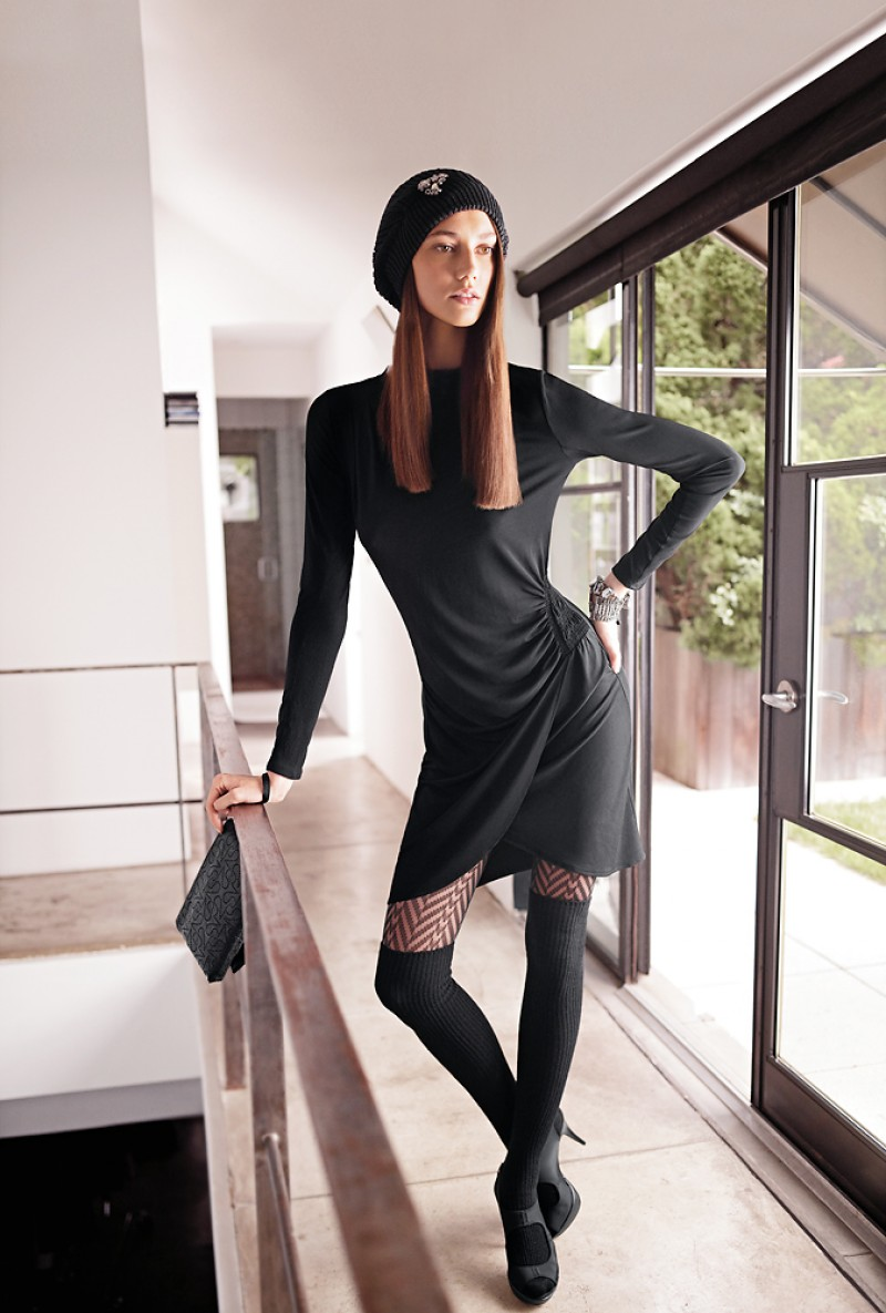 From the Kohl's Simply Vera Wang line, showing a young, stylish approach to hosiery for Winter 2012