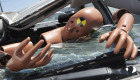 Crash test dummy on broken windshield