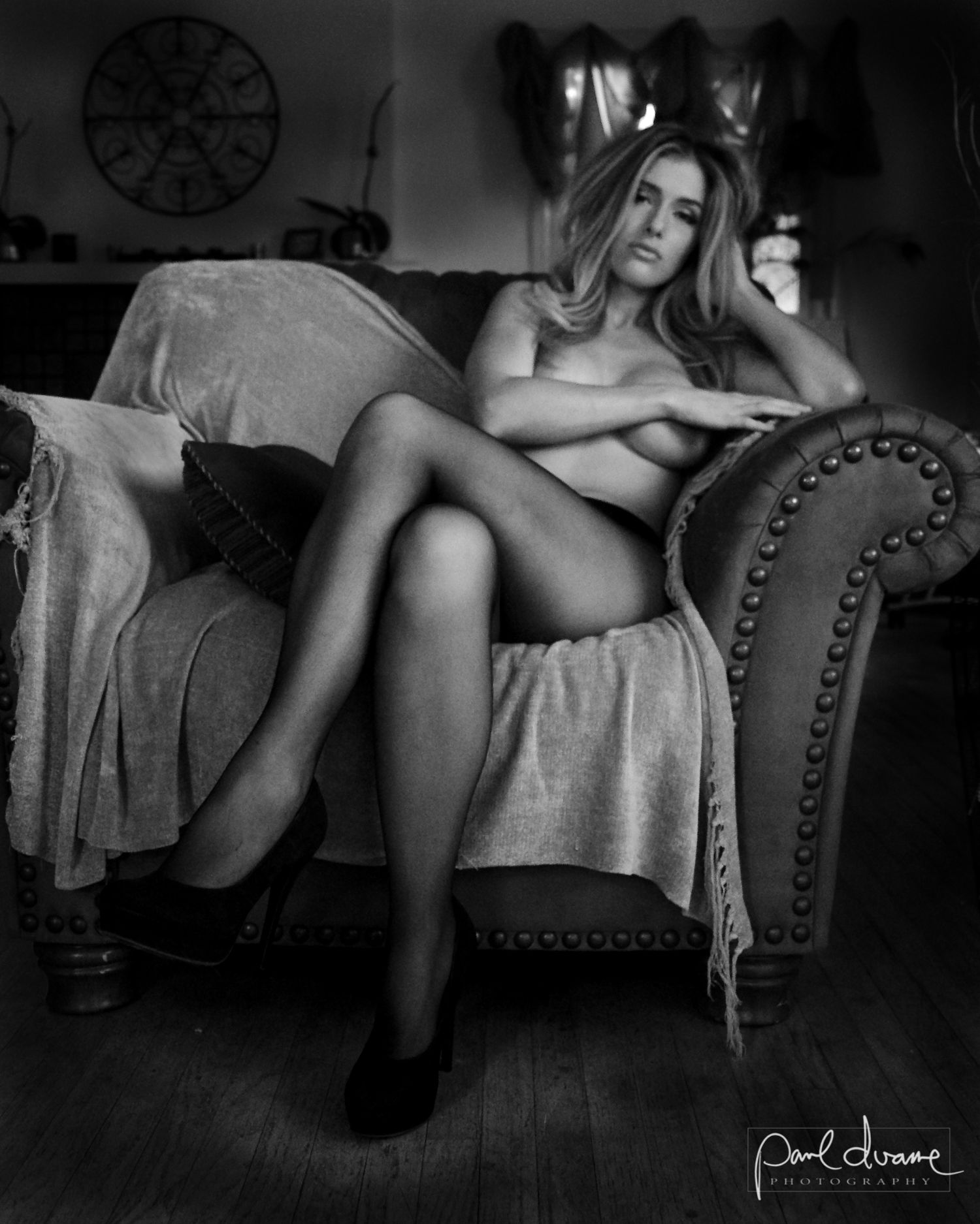 black and white nude model in black pantyhose